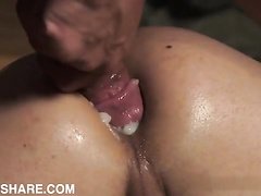 Creampied asshole of naughty brunette twink