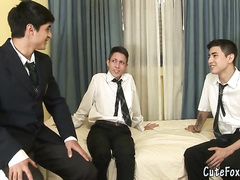 Glorious threesome with twinks in suits
