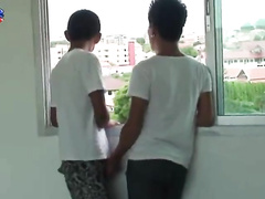 Romantic view makes two Asian twinks horny