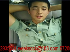 Asian policeman in uniform is showing his cock