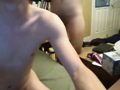 Chick is rubbing cunt and guy is wanking off