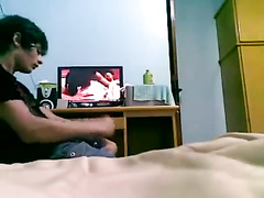 Wanking dick on steaming sex video
