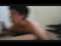 Curly teen gay is enjoying sucking nasty dick