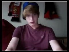 Cutie teen in baseball cap is jerking to the camera