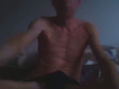 Skinny mature got nude and jerking off his boner