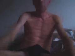 Skinny mature got nude and jerking off his boner