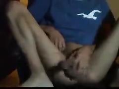 Latinos twink is masturbating and fingering