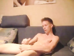Skinny dude got nude and wanking dick on couch