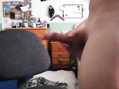 Womanlike dude is masturbating his dick on webcam