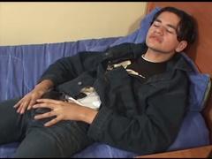 Handsome teen Latinos is jerking off his boner