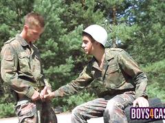 Military dudes masturbate and fuck under the sky