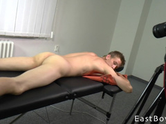Twink takes off his pants and does some exercises