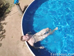 Twink takes shower and enjoys handjob in the pool