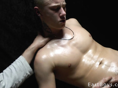 Blonde twink got oiled up and handjobbed by gay boyfriend