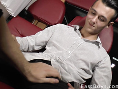 Cutie twink gets undressed and handjobbed in front of the camera
