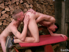 Teen gay is pleasing his horny boyfriend with tight blowjob