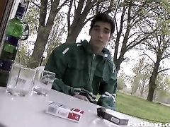 Young gay enjoys little drink and gets hotly handjobbed