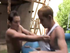 Teen gay friends are having fun outdoors