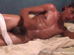 Latina twink gets oiled and enjoys dick masturbation