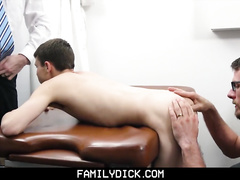 Skinny cute twink comes to doctor with his stepdad and gets fucked with two hunk dicks
