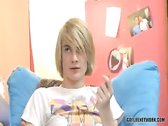 Sissy beauty blond twink strokes and fucks with young gay boyfriend