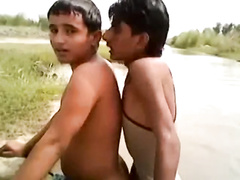 Muslim teen twinks are naughtily fucking in the river