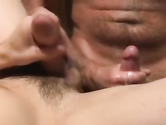 Young gay does tight blowjob before being fucked hard by two hunks