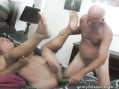 Bear grandpa strokes gay step grandson's asshole with dildo before fucking him hard