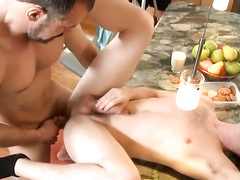 Cutie twink gets passionately fucked by his bearded stepfather in kitchen