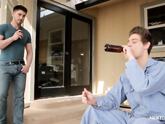 Twink drinks beer before doing blowjob to gay boyfriend and enjoying gay anal fuck